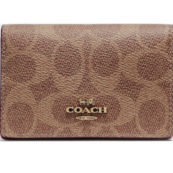 7a330bd5 COACH Business Card Case In Signature Canvas NWT